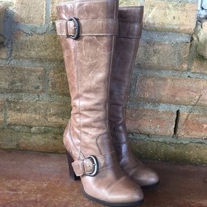 Born Tall Leather Boots Buckle Taupe Marlow Riding